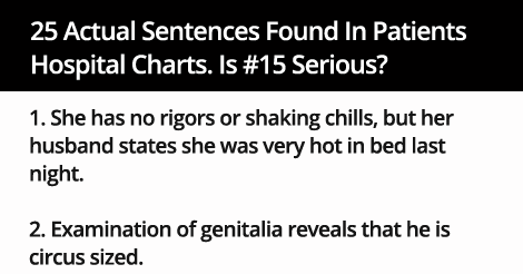 25 Actual Sentences Found In Patients  Hospital Charts. Is #15 Serious?