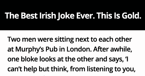 The Best Irish Joke Ever. This Is Gold.